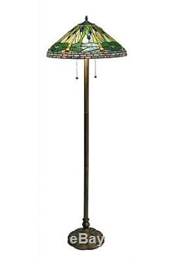 Tiffany Style Handcrafted Green Dragonfly Floor Lamp 18 Shade