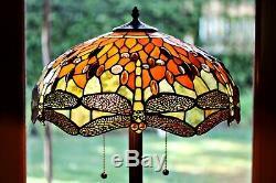Tiffany Style Handcrafted Orange Dragonfly Floor Lamp 18 Shade