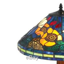 Tiffany Style Handcrafted Stained Glass Floral Table Lamp Set 16 Shade