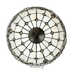 Tiffany Style Handcrafted White Floor Lamp 18 Shade