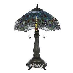 Tiffany Style Lamp Blue Stained Glass Table Lamp Shade Bedroom Decor Bronze
