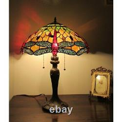 Tiffany Style Lamp Dragonfly Design 3-light Stained Glass Table Accent Reading