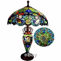 Tiffany Style Lamp Table & Desk Stained Glass Victorian Double Lit Table Lamp