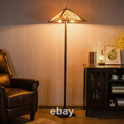 Tiffany-Style Mission 2 Light Floor Lamp with 18 Stained Glass Shade Decoration