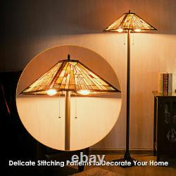 Tiffany-Style Mission 2 Light Floor Lamp with 18 Stained Glass Shade Home Decor