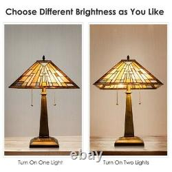 Tiffany-Style Mission 2-Light Table Lamp with16 Stained Glass Lampshade Home