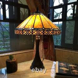 Tiffany Style Mission Arts & Crafts Stained Glass 23 Table Desk Lamps PAIR