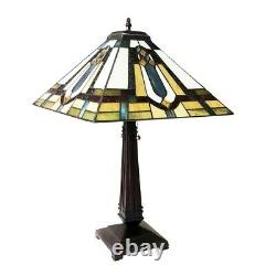 Tiffany-Style Mission Arts & Crafts Stained Glass Table Lamp 24 Tall 16 Shade