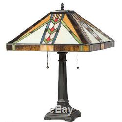Tiffany-Style Mission Bedside 2-Light Table Lamp with16 Stained Glass Lampshade