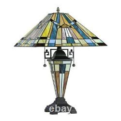 Tiffany Style Mission Design 2+1 Light Lighted Base Stained Glass Table Lamp
