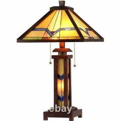 Tiffany Style Mission Stained Glass Double Lit Table Lamp with Lighted Base