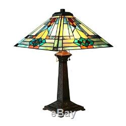 Tiffany Style Mission Stained Glass Table Lamp 2 Bulb Antique Bronze Base