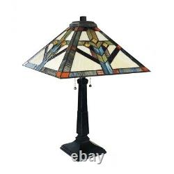 Tiffany Style Mission Stained Glass Table Lamp 2 Bulb Antique Dark Bronze