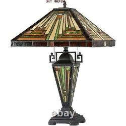 Tiffany Style Mission Table Lamp Beige Amber Green Stained Glass Lit Metal Base
