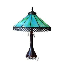 Tiffany Style Mission Table Lamp Turquoise Blue Brown Stained Glass 23 High