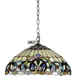 Tiffany Style Pendant Ceiling Lamp Hanging Fixture Amber Stained Glass 18 Wide