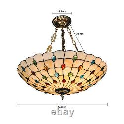 Tiffany Style Pendant Light Stained Glass Peacock Shade Chandelier Ceiling Lamp