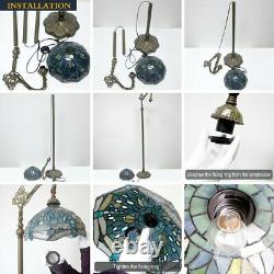 Tiffany Style Reading Floor Lamp Lavender Stained Glass Blue Purple Baroque Lamp