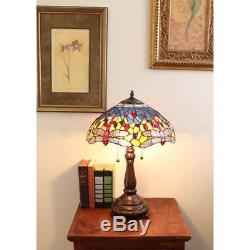 Tiffany Style Red Dragonfly Bronze Stained Art Glass Vintage Table Shade Lamp