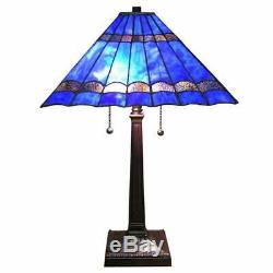 Tiffany Style Royal Blue Stained Glass Handcrafted Table Lamp Reading Accent