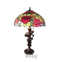 Tiffany Style Stained Glass 2 Bulb With Roses 18 Shade 27 Tall Table Lamp