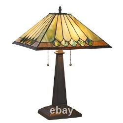 Tiffany Style Stained Glass 22.4 Table Lamp Mission Arts & Crafts 16 Shade