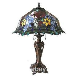 Tiffany Style Stained Glass 3 Bulb With Roses 20 Shade 26 Tall Table Lamp