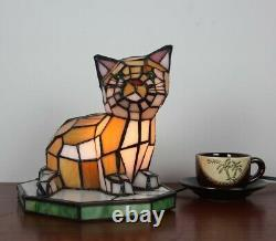 Tiffany Style Stained Glass Accent Table Lamp Kitty Cat Night Light Bedside Lamp