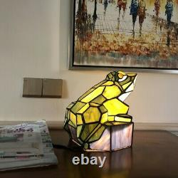 Tiffany-Style Stained Glass Animal Frog Accent Lamp 9.5 H