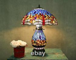 Tiffany Style Stained Glass Blue Dragonfly Table Lamp WithIlluminated Base New