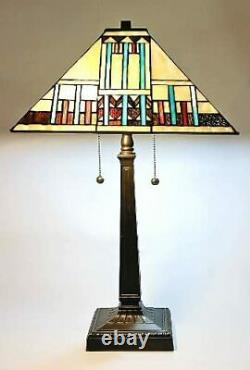 Tiffany Style Stained Glass Blue Mission Table Lamp Handcrafted 16 Shade