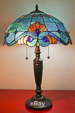Tiffany Style Stained Glass Blue Vintage Table Lamp 2 Light 16 Shade New