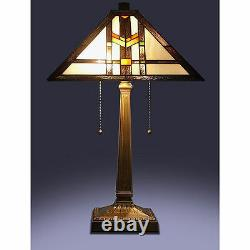Tiffany Style Stained Glass Brown Mission Table Lamp 16 Shade Handcrafted New