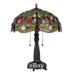 Tiffany Style Stained Glass Dragonfly 2 Bulb Table Lamp 18 Shade