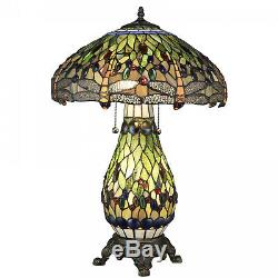Tiffany Style Stained Glass Dragonfly Reading Table Lamp with Lighted Base