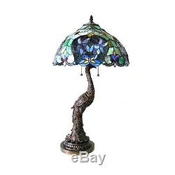 Tiffany Style Stained Glass Floral Shade Table Lamp Peacock Handcrafted 31