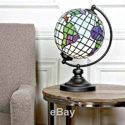 Tiffany Style Stained Glass Globe Accent Table Lamp Night Light Metal Base