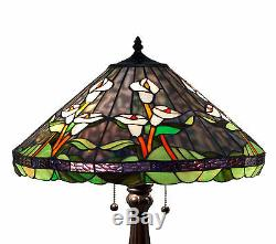 Tiffany Style Stained Glass Green Calla Lily Table Lamp New