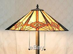 Tiffany Style Stained Glass Hex Mission Floor Lamp 2 Pull Chain 18 Shade
