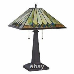Tiffany Style Stained Glass Mission Dark Bronze Finish Table Lamp Accent Reading