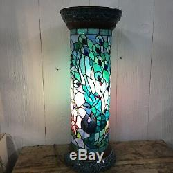 Tiffany Style Stained Glass Peacock Pedestal Floor Lamp Bohemian