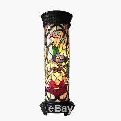 Tiffany Style Stained Glass Pedestal Floor Lamp Night Light 30 Floral Design