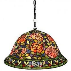 Tiffany Style Stained Glass Rose Hanging Lamp For Any Rm Multi-Color Floral