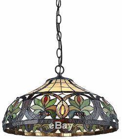 Tiffany Style Stained Glass Sunrise Hanging Lamp Handcrafted 16 Shade