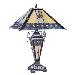 Tiffany Style Stained Glass Table Lamp Double Lit Mission Design Home Decor