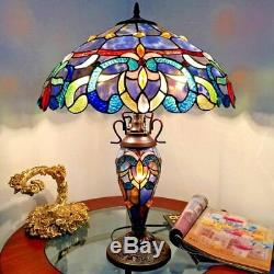 Tiffany Style Stained Glass Victorian Lighted Base Table Lamp 18 Shade