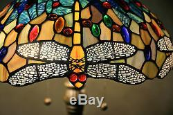 Tiffany Style Stained Glass Yellow Dragonfly Table Lamp 16 Shade Handcrafted