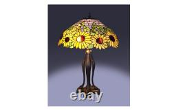 Tiffany Style Sunflower Table Lamp 25 in. Bronze Stained Glass Flower Shade Home