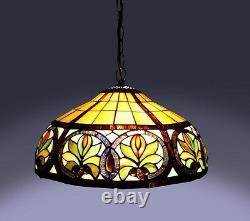 Tiffany Style Sunrise Hanging Lamp Stained Glass 16 Shade Handcrafted