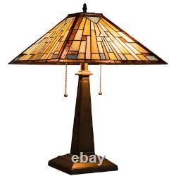 Tiffany-Style Table Lamp 16 Lampshade Stained Glass 2-Light Reading Lamp